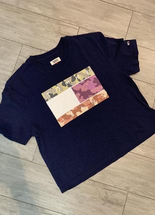Брендвая футболка укороченая, оригинал томи