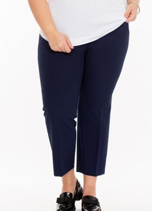 Мега шикарные нарядные стильные укороченные брюки батал высокая посадка next 🍒👖🍒