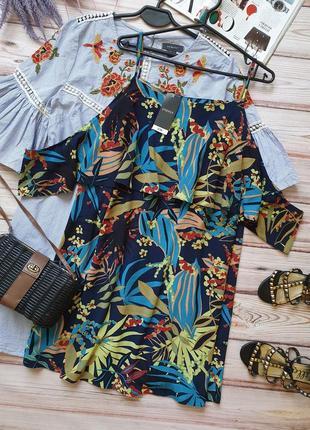 Летнее легкое платье сарафан тропики свободного кроя с рюшей на руки