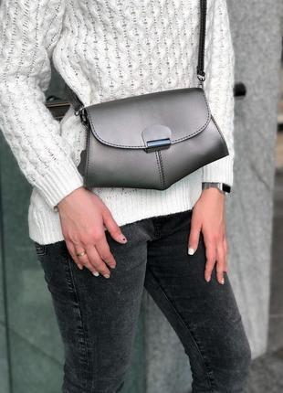 🔥супер цена!🔥 сумочка на пояс клатч «demi» металлик