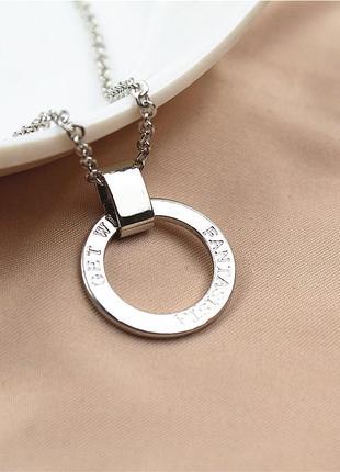Серебристый кулон на цепочке с надписью гравировка win колье цепи на шею бижутерия купить