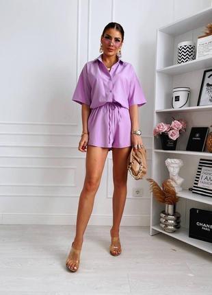 Костюм женский летний шорты и рубашка с коротким рукавом прогулочный повседневный софт