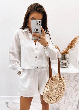 Костюм женский летний шорты и рубашка с длинными рукавами повседневный прогулочный льняной