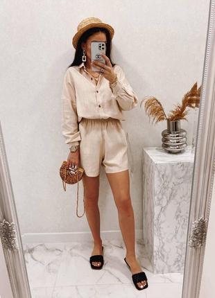 Костюм летний женский шорты и рубашка с длинными рукавами повседневный прогулочный льняной