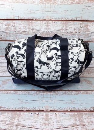 Небольшая спортивная, дорожная сумка, женская сумка с собачками4 фото