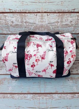 Небольшая спортивная, дорожная сумка, женская сумка с фламинго