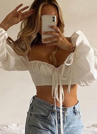 Стильный топ блуза  с завязками и обьемными рукавами, рукава воланы2 фото
