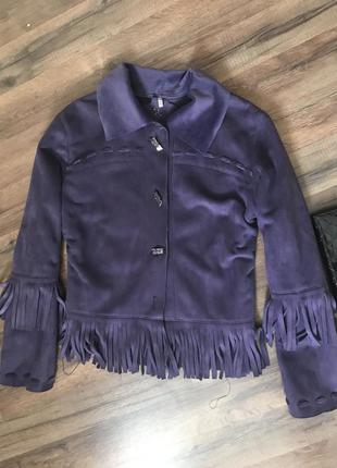 Стильна замшева курточка з бахромою