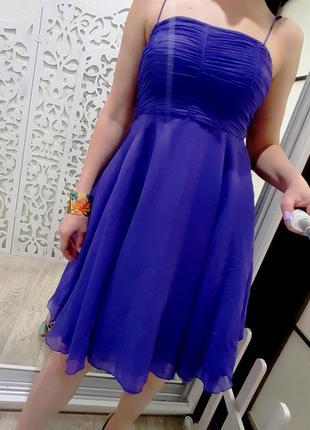Платье насыщенно синее однотонное вечернее пышное с корсетом s xs на танцы выпускной