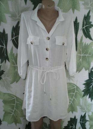 Платье туника рубашка рубашка-платье белоснежка хлопковая
