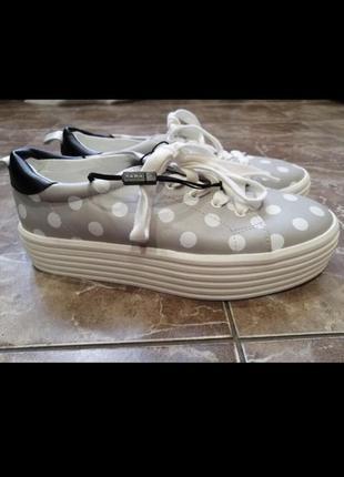Zara слипоны кеды кроссовки в горошек эко