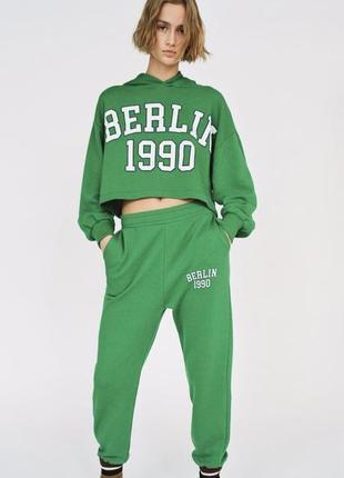 Зелёные джогеры / зелёные штаны спортивные zara