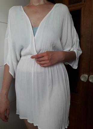 Пляжная туника летняя хлопковая белая накидка платье asos