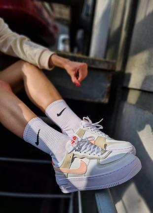 Air force white mustard elements белые женские кроссовки кеды найк білі жіночі кросівки6 фото