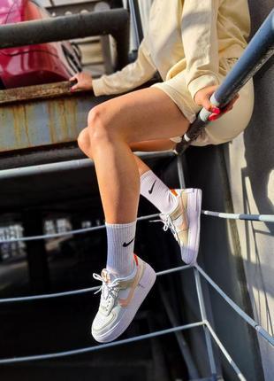 Air force white mustard elements белые женские кроссовки кеды найк білі жіночі кросівки3 фото
