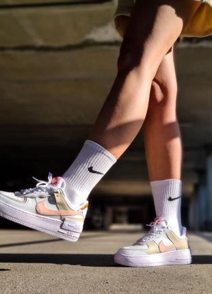 Air force white mustard elements белые женские кроссовки кеды найк білі жіночі кросівки5 фото