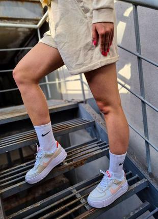 Air force white mustard elements белые женские кроссовки кеды найк білі жіночі кросівки8 фото