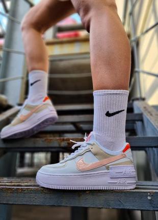 Air force white mustard elements белые женские кроссовки кеды найк білі жіночі кросівки