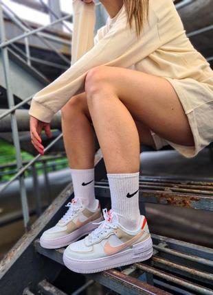 Air force white mustard elements белые женские кроссовки кеды найк білі жіночі кросівки7 фото