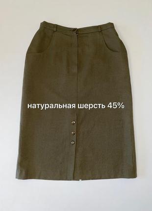 Moden weiss миди юбка цвета хаки (шерсть 45%)