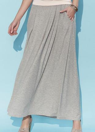 Юбка макси длинная тонкая трикотажная на резинке с карманами zaps серая бежевая летняя