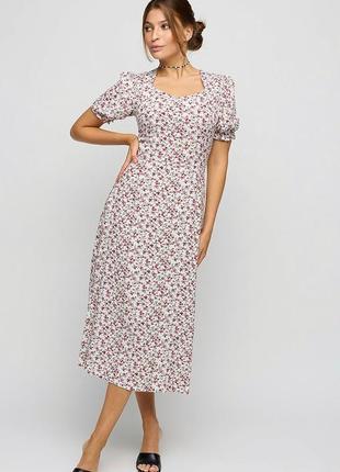 Платье в пол, летнее платье, длинное платье 42, платье из хлопка, платье в цветочек