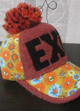 Дизайнерская весна-осень-зима шапка кепка бейсболка кеппи козырёк+бумбон фетр хлопок