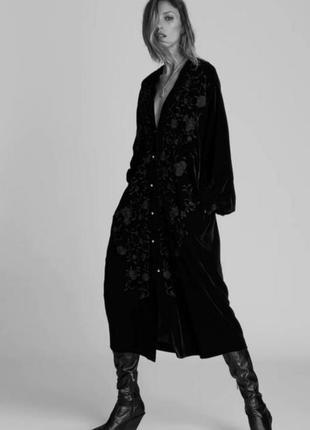 Чёрное бархатное платье zara