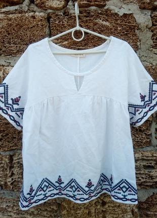 Хлопковая блузка с вышивкой marks&spencer