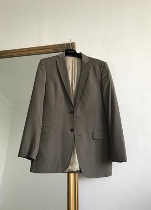 Светлый коричневый пиджак блейзер с мужского плеча оверсайз натуральная шерсть оливковый k17