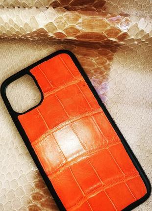 Бампер на телефон iphone 11 из натуральной кожи крокодила