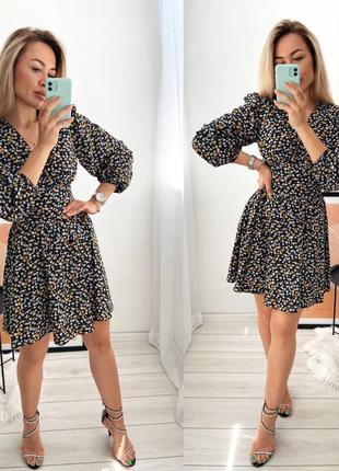 Платье летнее короткое женское легкое с цветами