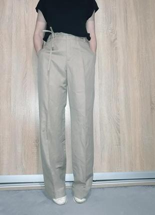 Шикарные свободные широкие льняные лляні брюки палаццо песочного цвета zara