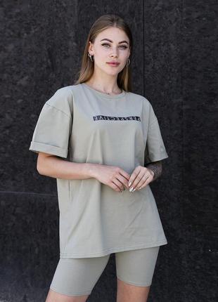 Женский костюм футболка + шорты
