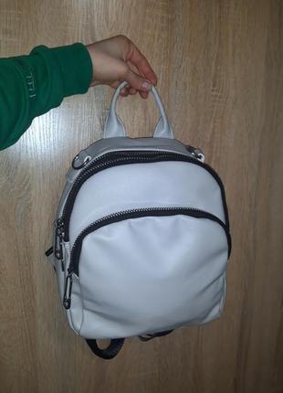 Серый мини рюкзак сумка трансформер на длинном ремешке экокожа