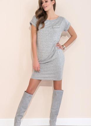 Платье zaps тонкое трикотажное без подкладки летнее короткий рукав серое васильковое с меланжем