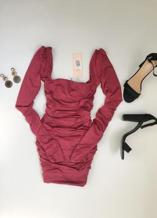 Платье oh polly цвет марсала,  трендовое платье со сборкой на попе,  платье новое с бирками💕3 фото