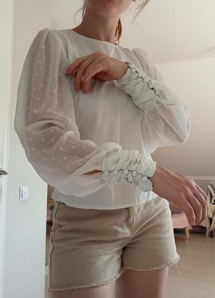 Блуза с шифоновыми рукавами stradivarius