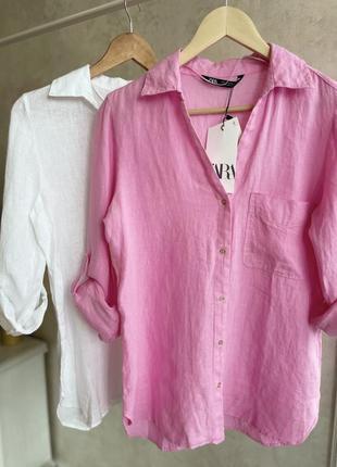 Льняная рубашка zara в розовом цвете