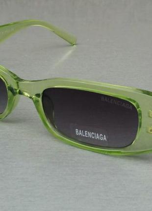 Balenciaga очки женские солнцезащитные модные узкие салатовые