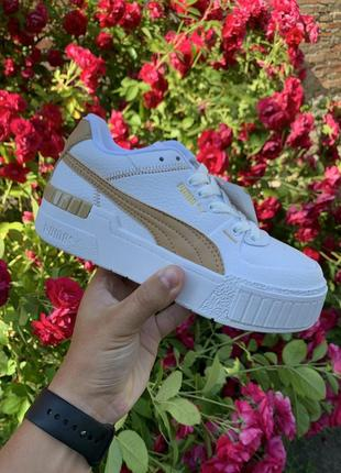 Женские стильные кроссовки puma cali sport white gold