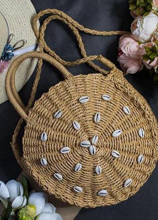 Женская плетеная сумка с ракушками   30*30*10