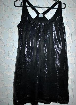 Платье черное блестящее серебристое нарядное бренд oasis asos cos s m летнее