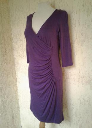Трикотaжное фиолетовой платье с дpапировкой по боку, xl
