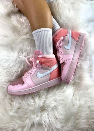 Кроссовки высокие женские ягодные air jordan pink