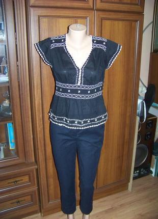 Черная хлопковая блузка вышиванка kaliko 14р. или 40 евр