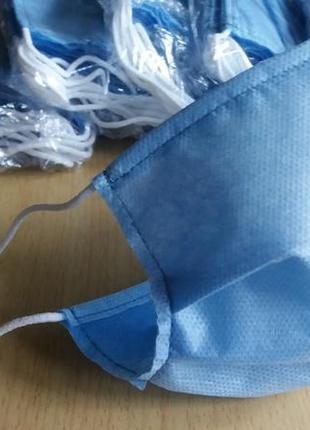 Маски двухслойные  одноразовые голубые мельтблаун плюс спанбонд легкие удобные недорого