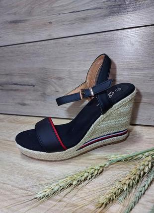 Босоножки платформа 🌿 плетенка на танкетке текстиль сандалии классика косичка