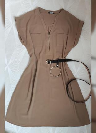 Платье свободное.  бежеве плаття з замочком 💛