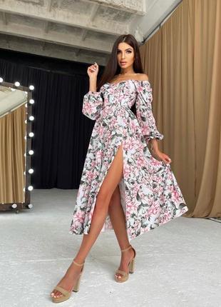 Платье миди с разрезом цветочное софт розовое белое